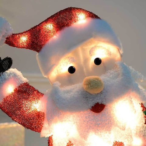 Pre-Lit Skiing Santa Snowman Silhouette with 50 Warm White Light, 90 cm - Large
