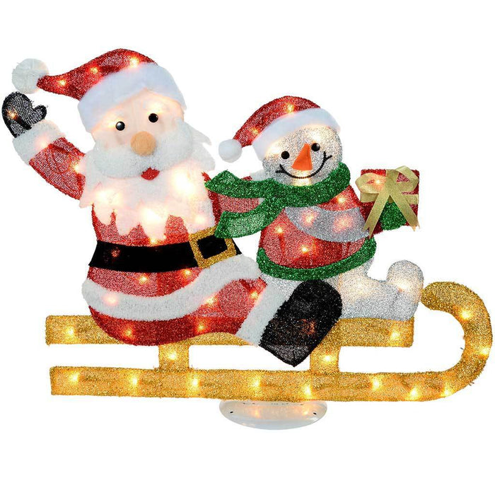 Pre-Lit Skiing Santa Snowman Silhouette with 50 Warm White Light, 90 cm - Large | WeRChristmas