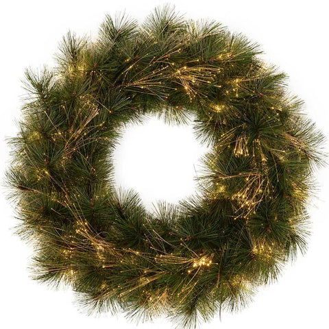 Pre-Lit Pine Needle Wreath with Warm White Fibre Optic Lights, 60 cm
