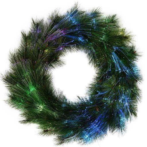 60 cm Pre-Lit Pine Needle Wreath Illuminated with Multi-Colour Fibre Optic Lights