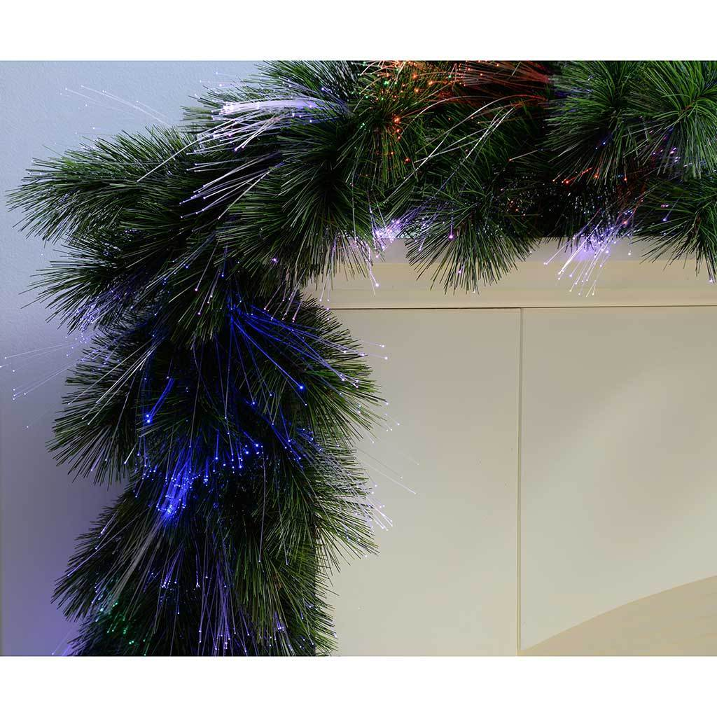 2 m Pre-Lit Pine Needle Garland Illuminated with Multi-Colour Fibre Optic Lights