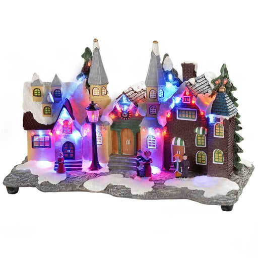 30 cm Pre-Lit Polyresin Village Scene Illuminated with Colour LED Lights