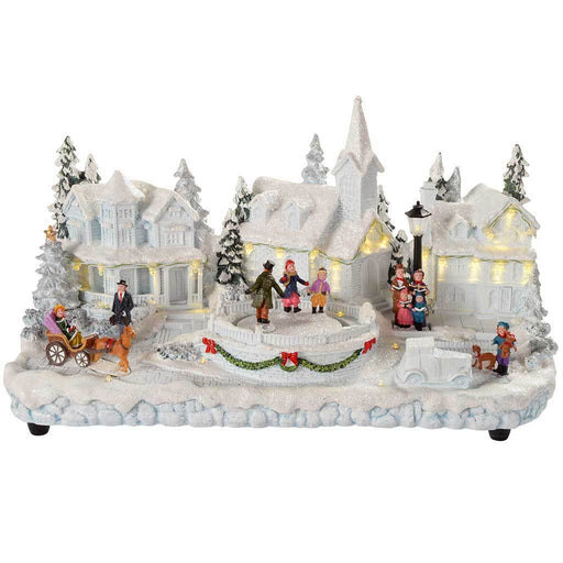 Pre-Lit Polyresin Village Scene with Skating Children with Warm LED Lights, 37 cm - White