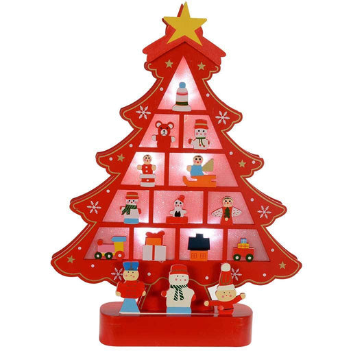 Pre-Lit Wooden Christmas Tree Decoration with 5 Warm White LED Lights - 31 cm, Red