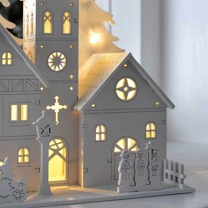 22 cm Pre-Lit Wooden House Scene Christmas Decoration Illuminated with 10 White LED Lights