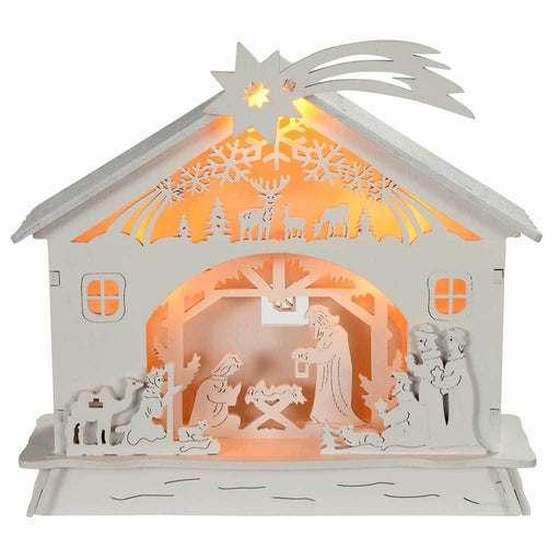 18 cm Pre-Lit Christmas Wooden Nativity Scene Decoration Illuminated with Warm White LED