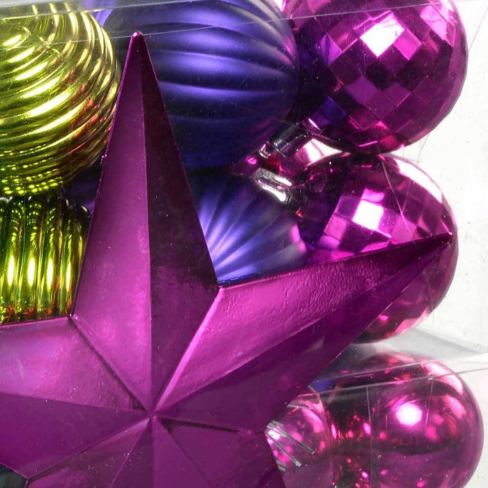 42-Piece Shatterproof Baubles with Tree Topper and Garland, Pink/ Purple/ Green/ Blue
