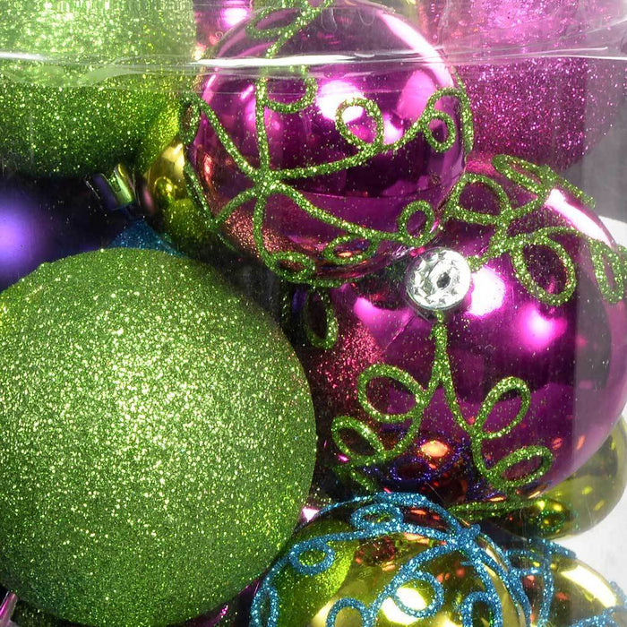50-Piece Shatterproof Deluxe Christmas Tree Baubles, Pink/ Purple/ Green/ Blue