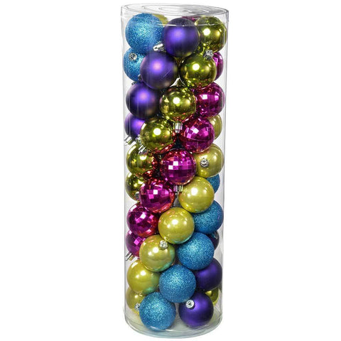 50-Piece Shatterproof Co-ordinated Christmas Tree Baubles, Pink/ Purple/ Green/ Blue