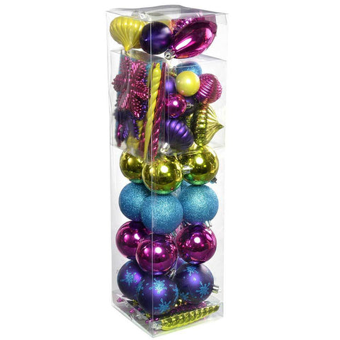 72-Piece Shatterproof Deluxe Variety Christmas Tree Baubles Decoration Pack, Pink/ Purple/ Green/ Blue, Multi-Colour