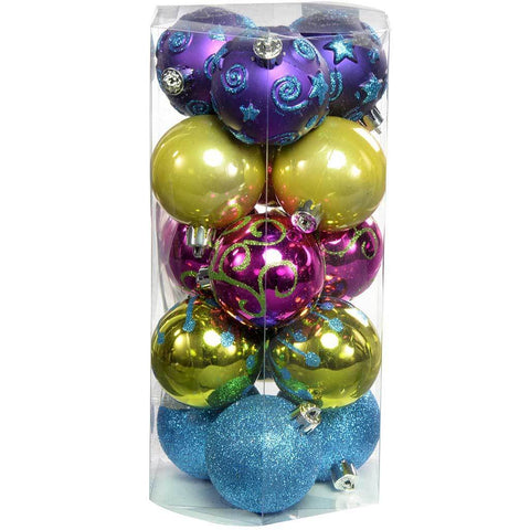 Shatterproof Deluxe Christmas Tree Baubles, 15-Piece - Pink/Purple/Green/Blue