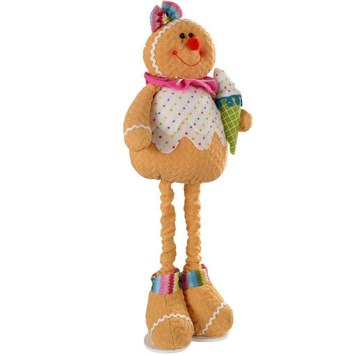Standing Cupcake Gingerbread Girl Christmas Decoration with Extendable Legs, 45-60 cm