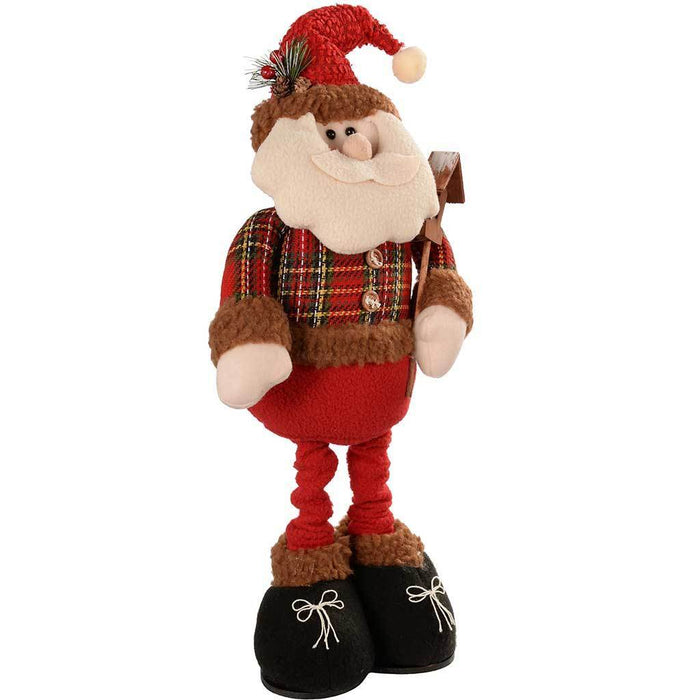 45 - 66 cm Standing Father Santa Claus in Red and Green Tartan with Extendable Legs