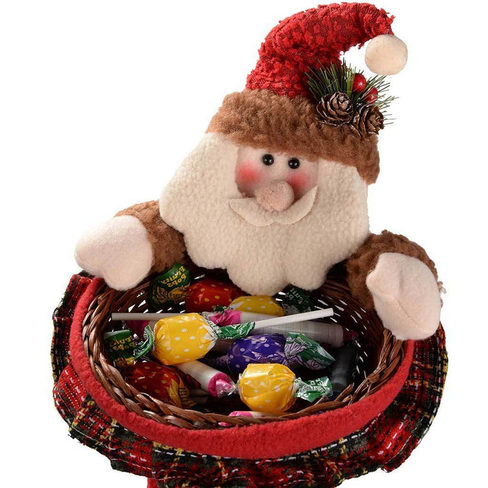 45 cm Santa Christmas Wicker Basket Table Decoration in Red and Green Tartan