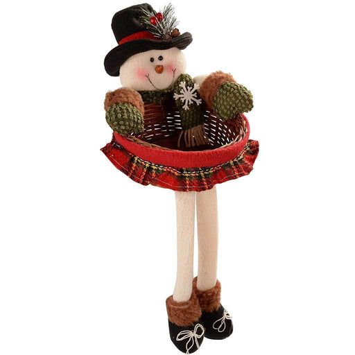 45 cm Snowman Christmas Wicker Basket Table Decoration in Red and Green Tartan