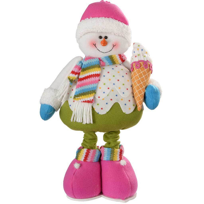 45 - 66 cm Standing Colourful Cupcake Snowman Christmas Decoration with Extendable Legs