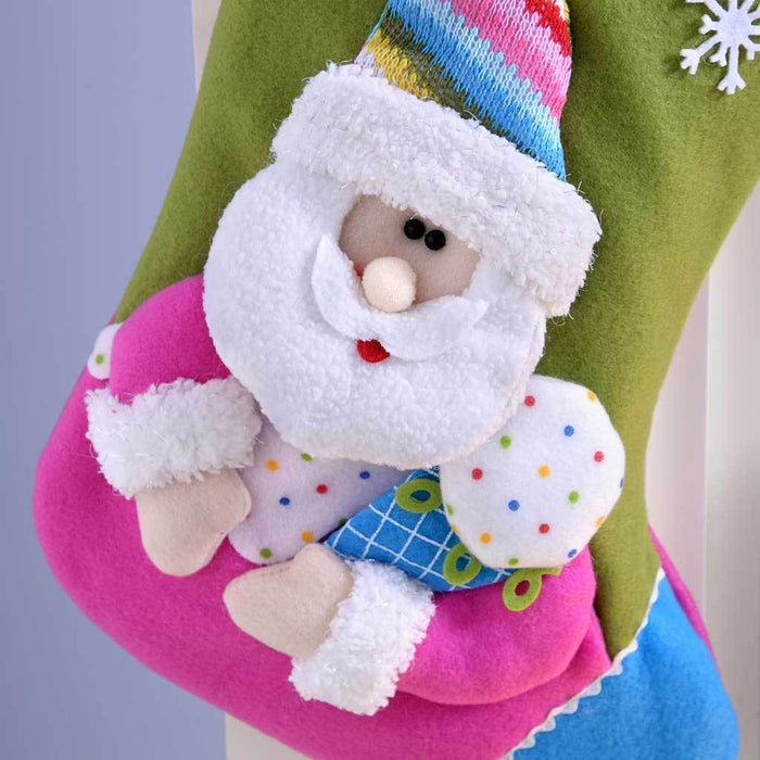 50 cm Christmas Stocking with 3D Colourful Cupcake Santa Claus Head, Hot Pink/ Green