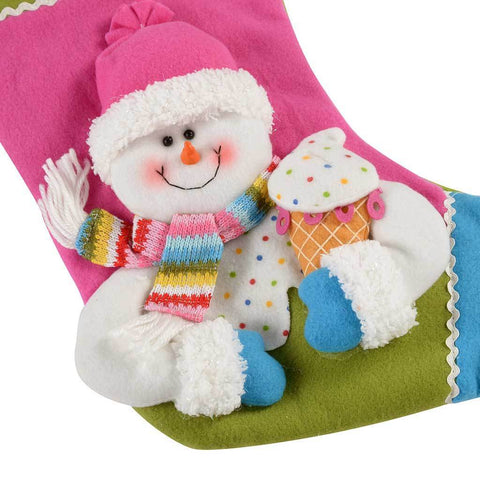 50 cm Colourful Cupcake Stocking with 3D Snowman Head Christmas Decoration