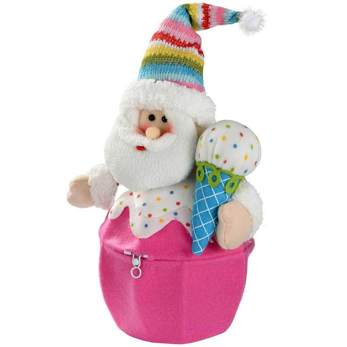 Colourful Cupcake Basket with Father Christmas Santa Claus Decoration, 26 cm