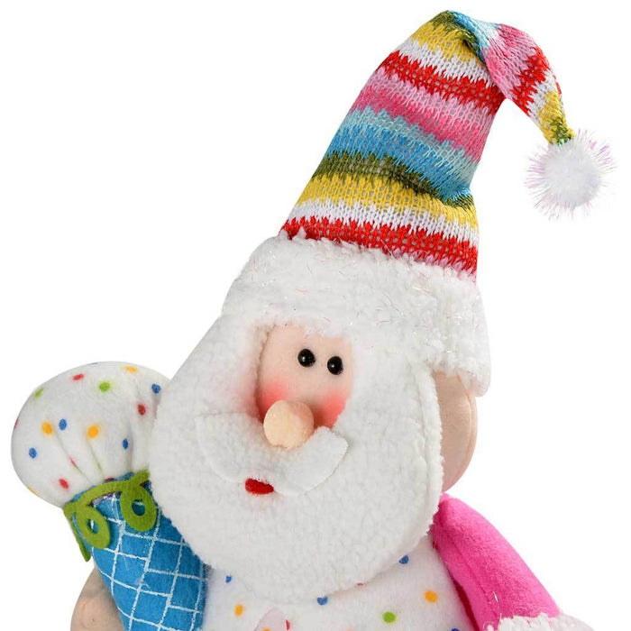Sitting Colourful Cupcake Father Christmas Santa Claus Decoration, 22 cm