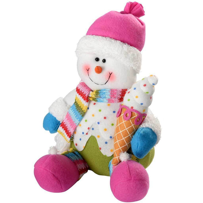 26 cm Sitting Colourful Cupcake Snowman Christmas Decoration