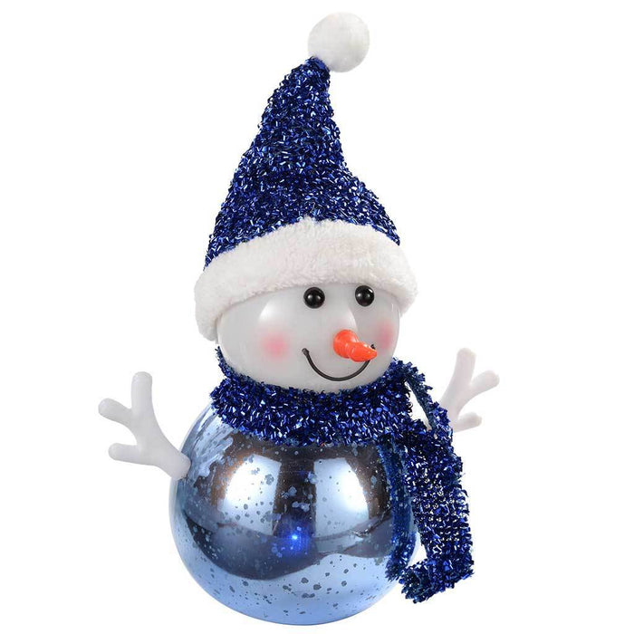 Snowman with Colour Changing LED Body Christmas Decoration, 12 cm