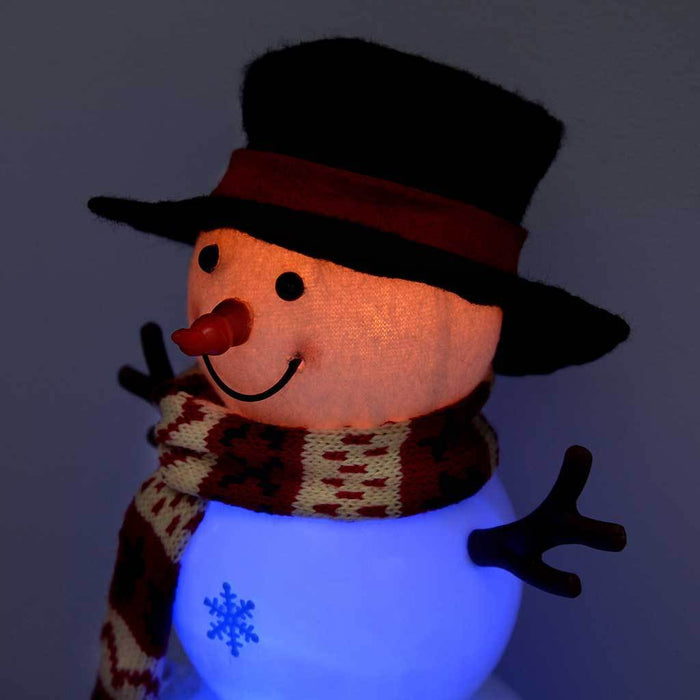 Snowman with 8 Musical Songs and Snowing Snowflake Inside Colour LED Body, 29cm - Large