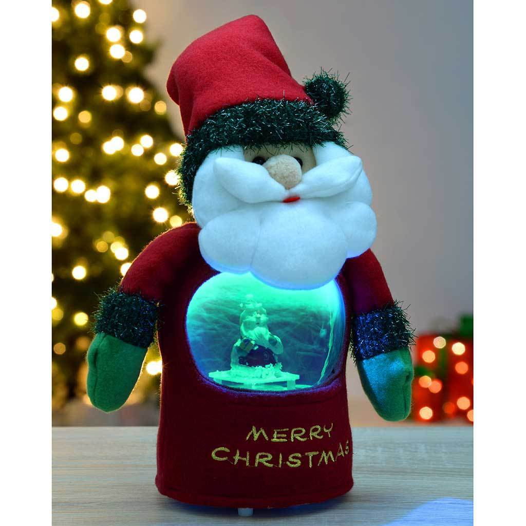 Let it Snow Musical Santa with Colour Changing LED's Snowing Scene, 25 cm
