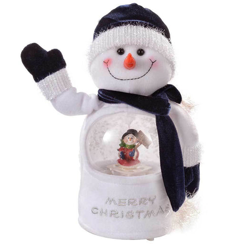 Let it Snow Musical Snowman with Colour LED Changing Snowing Scene, 25 cm