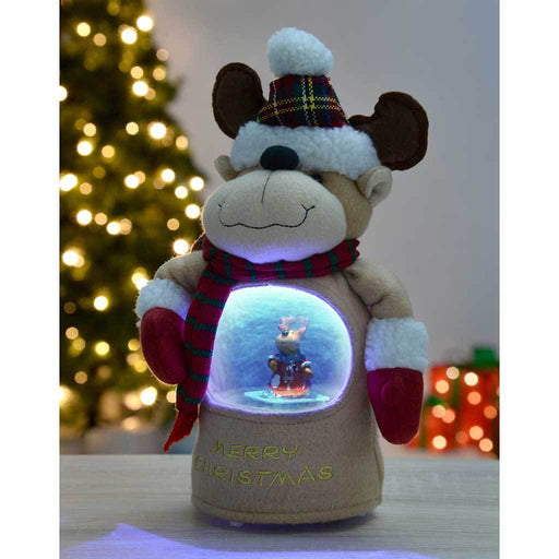 Let it Snow Musical Reindeer with Colour LED Changing Snowing Scene, 29 cm