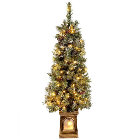 Pre-Lit Scandinavian Blue Spruce Christmas Tree with 80 Warm White LED Lights, 4 ft/1.2 m