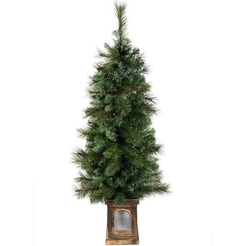 Pre-Lit Victorian Pine Christmas Tree with 80 Warm White LED Lights, 4 ft/1.2 m