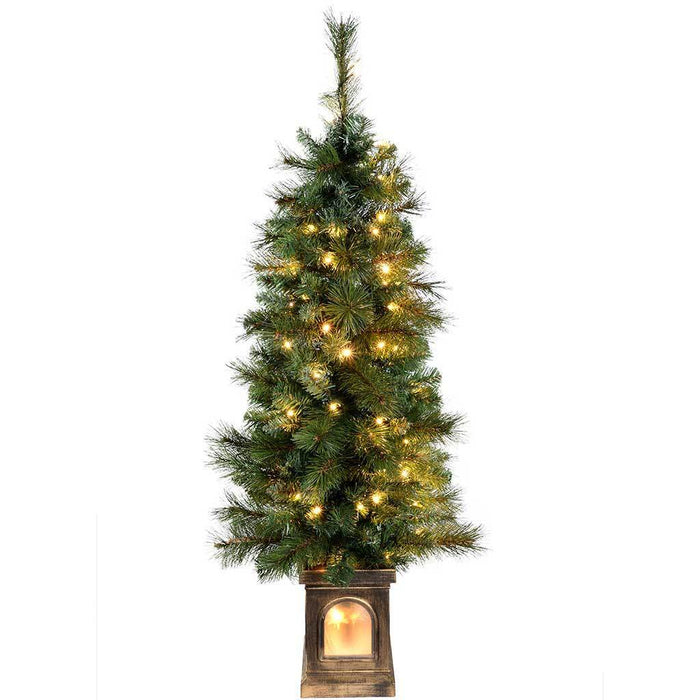 2 Ft White Christmas Tree: Pre-Lit Victorian Pine Christmas Tree With 80 Warm White