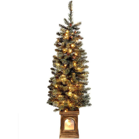 Pre-Lit Craford Pine Christmas Tree with 80 Warm White LED Lights, 4 ft/1.2 m