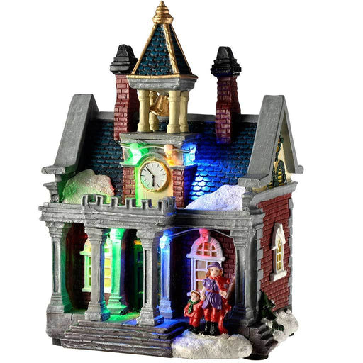 15 cm Victorian House Christmas Decoration with Colourful LED Lights