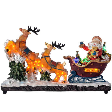 47 cm Pre-Lit Christmas Santa Claus in Sleigh with Reindeer, Multi-Colour LED Lights