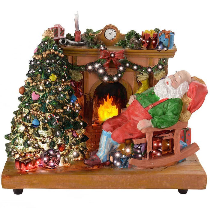29 cm Dancing Scene with Santa Asleep by the Fireplace Decoration with Colourful Fibre Optic Lights