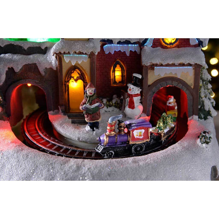 22 cm Large Scene with Rotating Train/ Colourful LED Lights Decoration