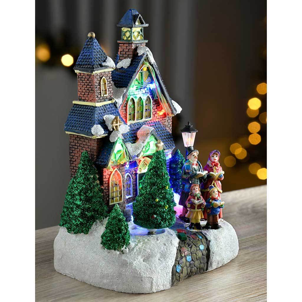 Christmas Carol Singers Decorations: 25 Cm Standing Scene With Carol Singers/ Colourful LED
