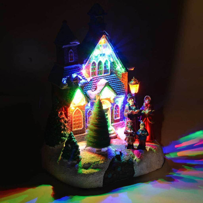 25 cm Standing Scene with Carol Singers/ Colourful LED Lights Decoration