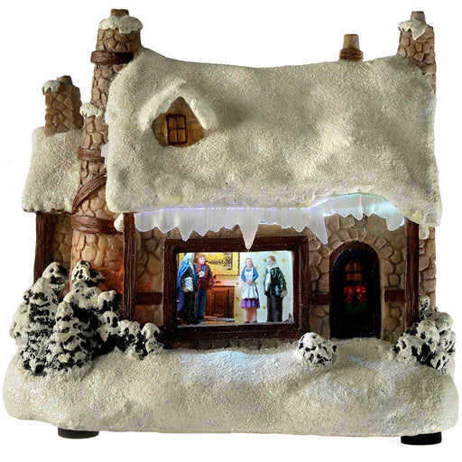 17 cm Christmas Snow House with Fibre Optic Lights Decoration