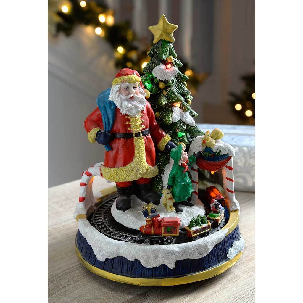 20 cm Christmas Tree with Rotating Train Colourful LED Lights Decoration
