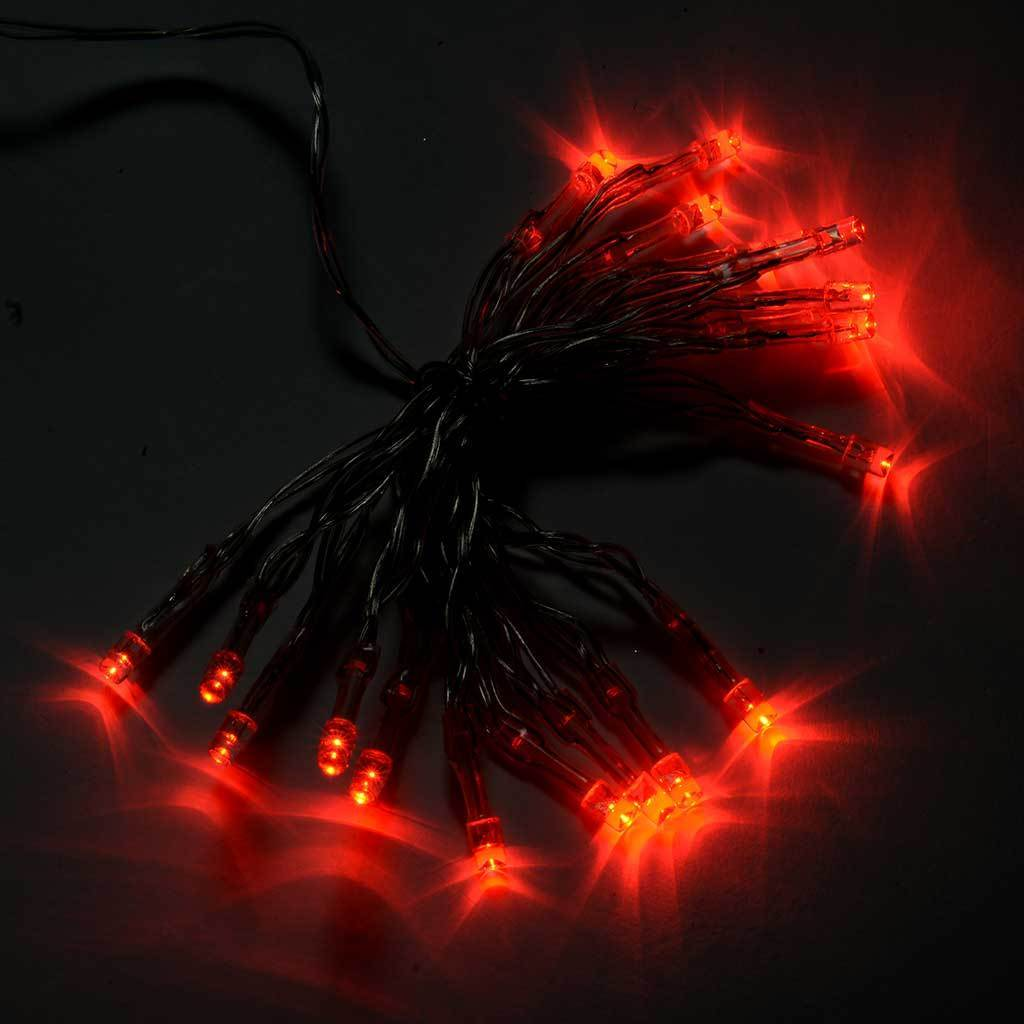20-Piece Battery Operated Static/ Flash Red LED String Lights