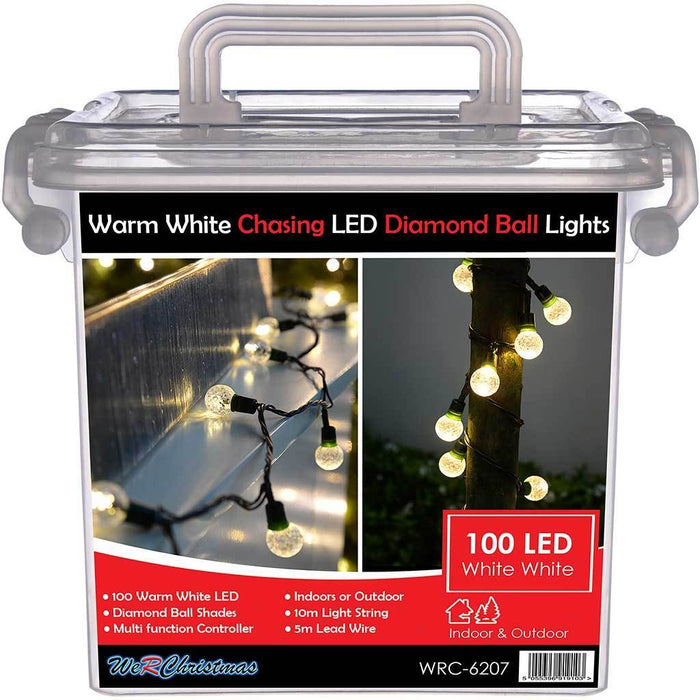 100-Piece Warm White Chasing LED Diamond Ball Lights String Christmas Tree Decoration