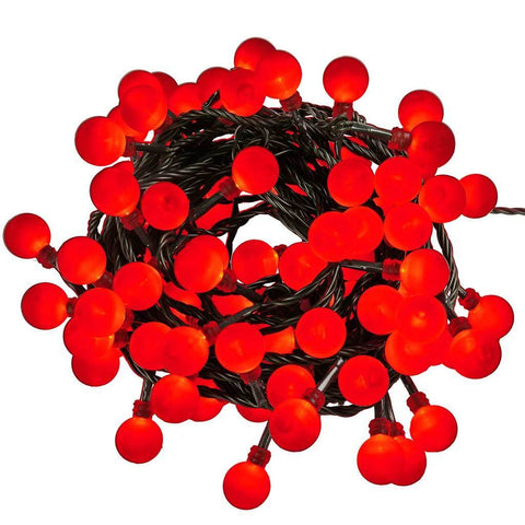 80-Piece Red Berry Chasing LED Lights String Christmas Tree Decoration