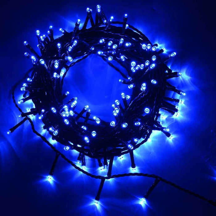 200-Piece LED Christmas Tree Lights String with Chasing/ Static Settings, Blue