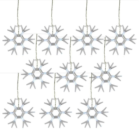 10 Acrylic Snowflakes with 60 Bright White LED Lights