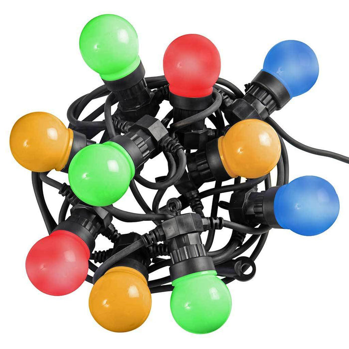Multi-Colour Globe Festoon Big Bulb LED Light String with 7.6m Cable - Set of 10