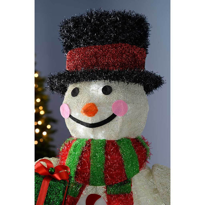 73 cm Large Pre-Lit Tinsel Snowman with Scarf and Gifts Figurine and 30 White LED Lights