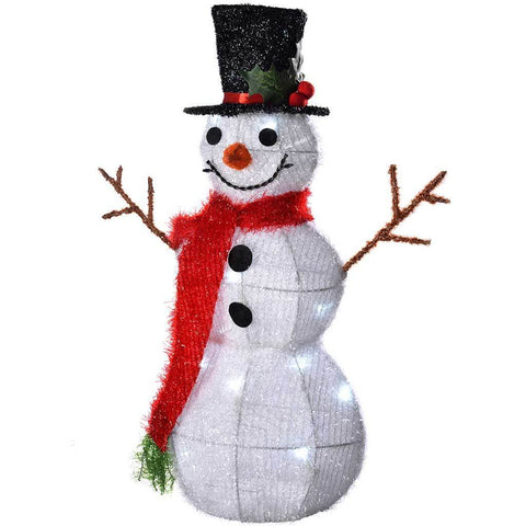 55 cm Pre-Lit Tinsel Snowman Figurine 20 White LED Lights Christmas Decoration